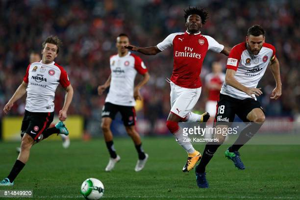 Alexandre Lacazette of Arsenal looks on during the match between the Western Sydney Wanderers and Arsenal FC at ANZ Stadium on July 15 2017 in Sydney...