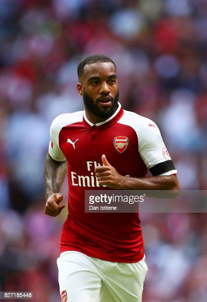 Alexandre Lacazette of Arsenal runs during the FA Community Shield match between Chelsea and Arsenal at Wembley Stadium on August 6 2017 in London...