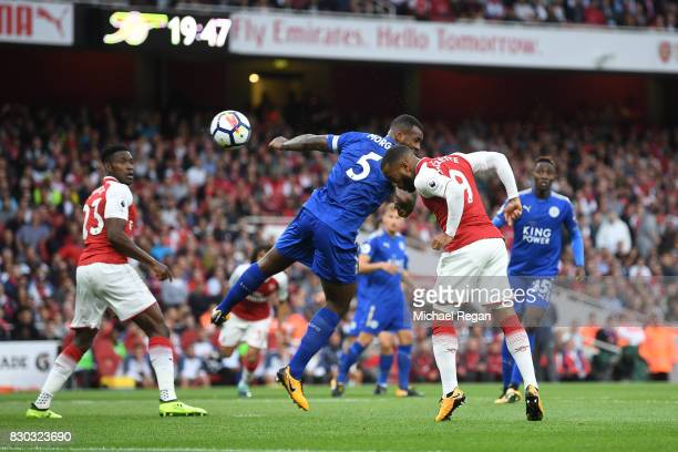 Alexandre Lacazette of Arsenal scores the opening goal during the Premier League match between Arsenal and Leicester City at the Emirates Stadium on...