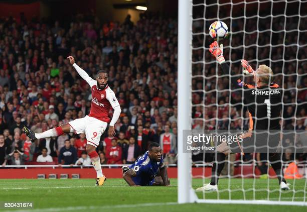 Alexandre Lacazette of Arsenal sees his shot saved by Kasper Schmeichel of Leicester during the Premier League match between Arsenal and Leicester...