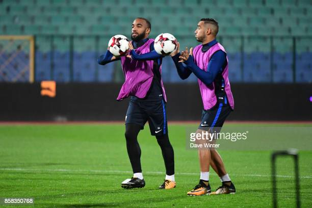 Alexandre Lacazette of France and Dimitri Payet of France during the training session of the France football team ahead the World Cup qualifying...