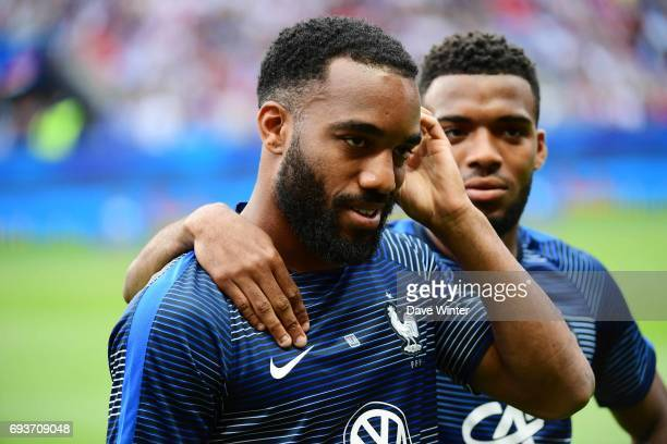 Alexandre Lacazette of France and Thomas Lemar of France before the soccer friendly match between France and Paraguay at Roazhon Park on June 2 2017...