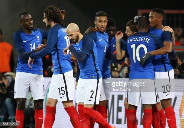 Alexandre Lacazette of France celebrates his goal with Blaise Matuidi Adrien Rabiot Christophe Jallet Corentin Tolisso Samuel Umtiti Lucas Digne...