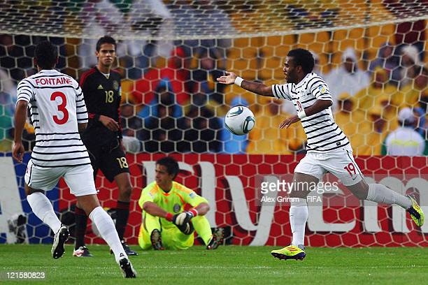 Alexandre Lacazette of France celebrates his team's first goal during the FIFA U20 World Cup 2011 3rd place playoff match between Mexico and France...
