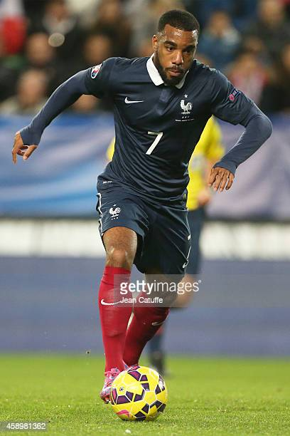 Alexandre Lacazette of France in action during the international friendly match between France and Albania at Stade de la Route de Lorient stadium on...