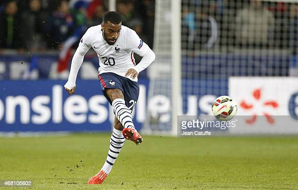Alexandre Lacazette of France in action during the international friendly match between France and Denmark at Stade GeoffroyGuichard on March 29 2015...