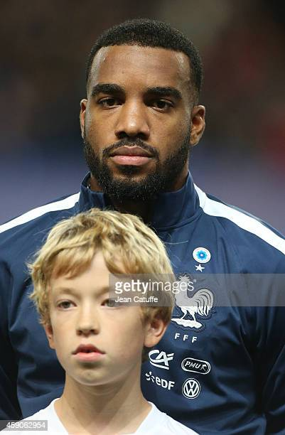Alexandre Lacazette of France poses before the international friendly match between France and Albania at Stade de la Route de Lorient stadium on...