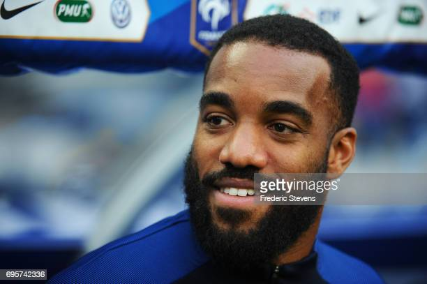 Alexandre Lacazette of France reacts during warmup before the International friendly match between France and England at Stade de France on June 13...
