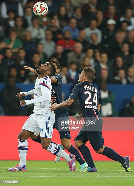 Alexandre Lacazette of Lyon and Marco Verratti of PSG in action during the French Ligue 1 match between Paris SaintGermain FC and Olympique Lyonnais...