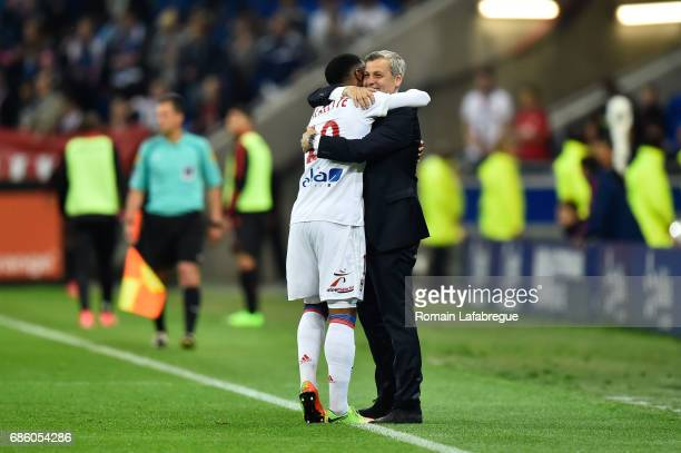 Alexandre Lacazette of Lyon Bruno Genesio of Lyon during the Ligue 1 match between Olympique Lyonnais and OGC Nice at Stade des Lumieres on May 20...