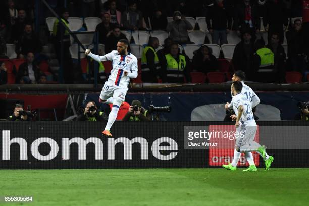 Alexandre Lacazette of Lyon celebrates a goal during the French Ligue 1 match between Paris Saint Germain and Lyon at Parc des Princes on March 19...