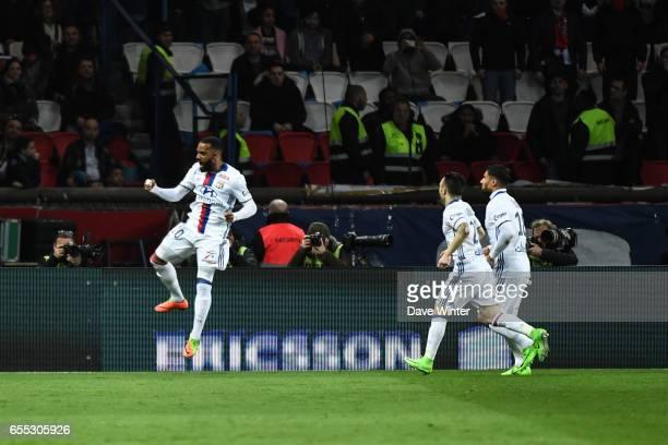 Alexandre Lacazette of Lyon celebrates a goal during the French Ligue 1 match between Paris Saint Germain and Lyon at Parc des Princes on March 19...