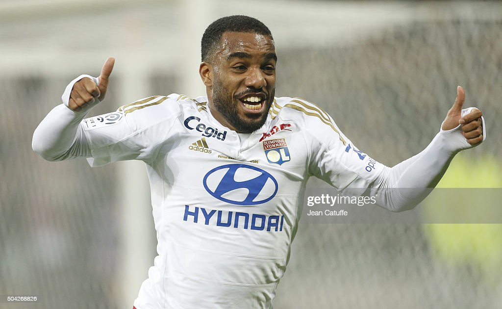 <a gi-track='captionPersonalityLinkClicked' href=/galleries/search?phrase=Alexandre+Lacazette&family=editorial&specificpeople=6927653 ng-click='$event.stopPropagation()'>Alexandre Lacazette</a> of Lyon celebrates his goal during the French Ligue 1 match between Olympique Lyonnais (OL) and Troyes ESTAC at their brand new stadium, Parc OL on January 9, 2016 in Lyon, France.