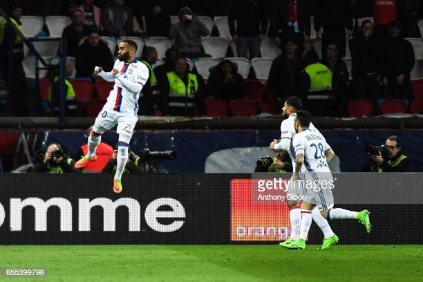 Alexandre Lacazette of Lyon celebrates the first goal during the French Ligue 1 match between Paris Saint Germain and Lyon at Parc des Princes on...