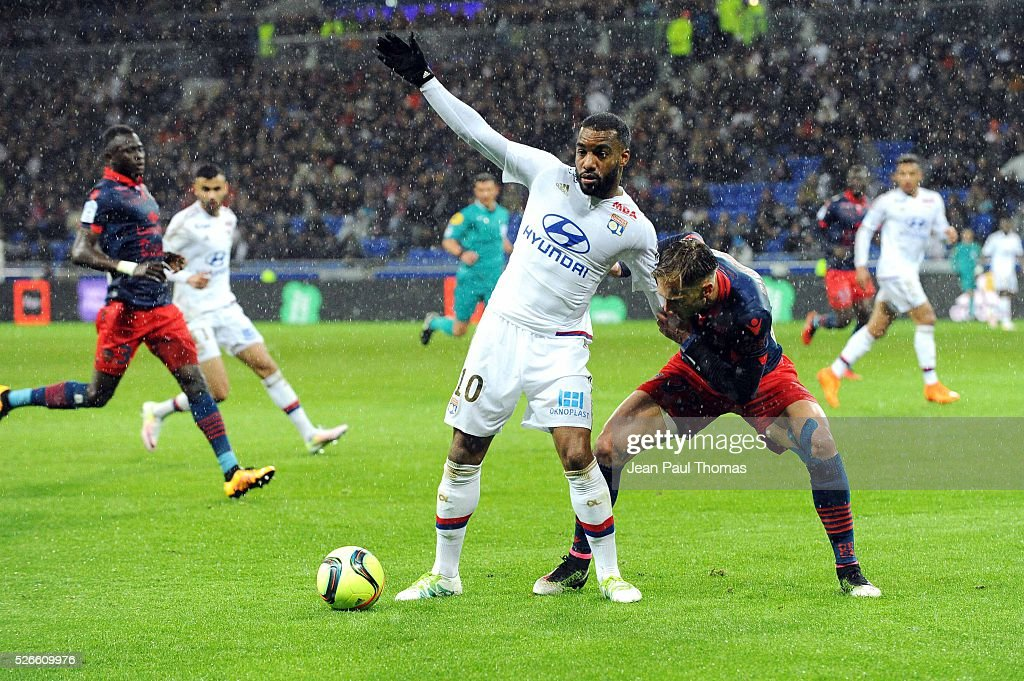 Alexandre Lacazette of Lyon during the French Ligue 1 match between Olympique Lyonnais and Gazelec GFC Ajaccio at Stade des Lumieres on April 30, 2016 in Lyon, France.
