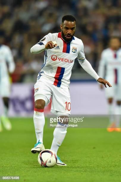 Alexandre Lacazette of Lyon during the Uefa Europa League quarter final first leg match between Olympique Lyonnais Lyon and Besiktas at Stade des...