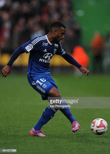 Alexandre Lacazette of Lyon in action during the French Ligue 1 match between FC Metz and Olympique Lyonnais at Stade SaintSymphorien on August 31...