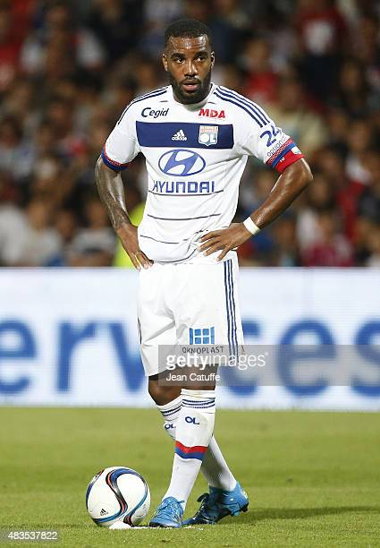 Alexandre Lacazette of Lyon in action during the French Ligue 1 match between Olympique Lyonnais and FC Lorient at Stade de Gerland on August 9 2015...