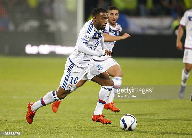 Alexandre Lacazette of Lyon in action during the French Ligue 1 match between Olympique Lyonnais and AS SaintEtienne at Stade de Gerland on November...