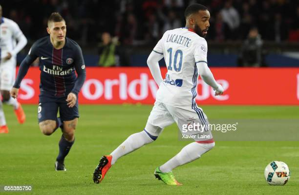 Alexandre Lacazette of Lyon in action during the French Ligue 1 match between Paris Saint Germain and Lyon OL at Parc des Princes on March 19 2017 in...