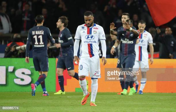 Alexandre Lacazette of Lyon is disapointed after the second goal of PSG during the French Ligue 1 match between Paris Saint Germain and Lyon OL at...