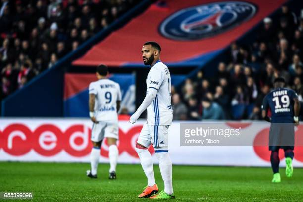 Alexandre Lacazette of Lyon looks dejected during the French Ligue 1 match between Paris Saint Germain and Lyon at Parc des Princes on March 19 2017...