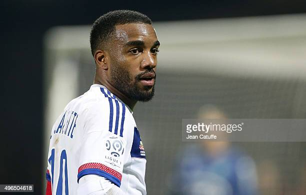 Alexandre Lacazette of Lyon looks on during the French Ligue 1 match between Olympique Lyonnais and AS SaintEtienne at Stade de Gerland on November 8...