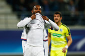Alexandre Lacazette of Lyon reacts after missing a penalty in the final minutes during the UEFA Champions League Group H match between KAA Gent and...