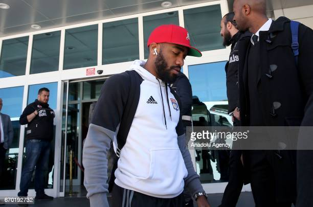 Alexandre Lacazette of Olympique Lyonnais arrives at Istanbul ahead of the UEFA Europa League second leg quarter final football match between...
