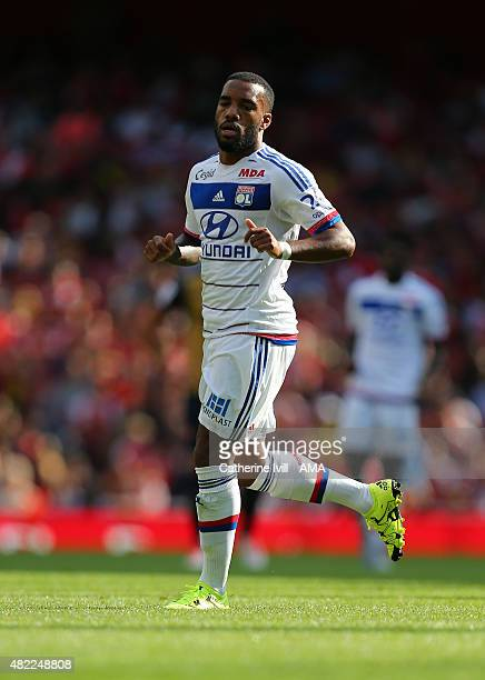 Alexandre Lacazette of Olympique Lyonnais during the Emirates Cup match between Arsenal and Olympique Lyonnais at Emirates Stadium on July 25 2015 in...