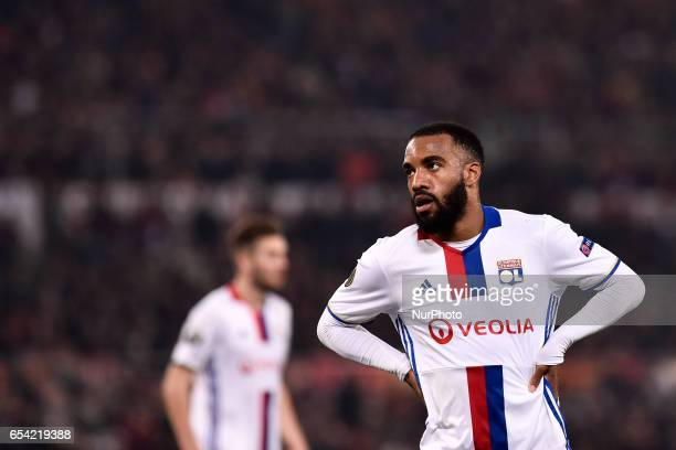 Alexandre Lacazette of Olympique Lyonnais during the UEFA Europa League match between Roma and Olympique Lyonnais at Stadio Olimpico Rome Italy on 16...