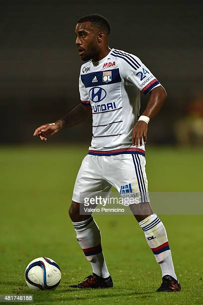 Alexandre Lacazette of Olympique Lyonnais in action during the preseason friendly match between Olympique Lyonnais and AC MIlan at Gerland Stadium on...