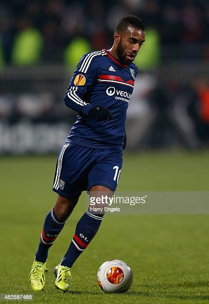 Alexandre Lacazette of Olympique Lyonnais in action during the UEFA Europa League Group I match between Olympique Lyonnais and Real Betis Balompie at...