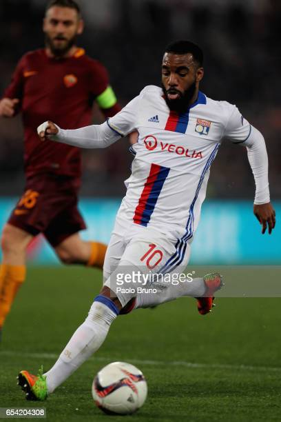Alexandre Lacazette of Olympique Lyonnais in action during the UEFA Europa League Round of 16 second leg match between AS Roma and Olympique Lyonnais...