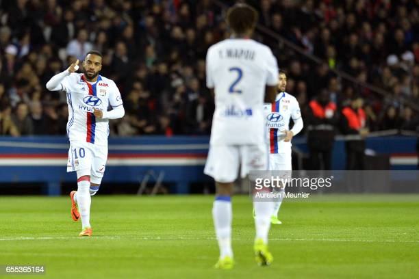 Alexandre Lacazette of Olympique Lyonnais reacts after scoring during the French Ligue 1 match between Paris Saint Germain and Olympique Lyonnais at...