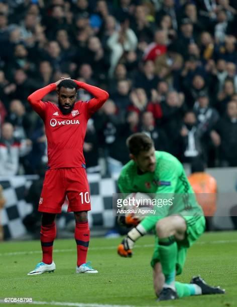 Alexandre Lacazette of Olympique Lyonnais reacts during the UEFA Europa League quarter final second match between Besiktas JK and Olympique Lyonnais...