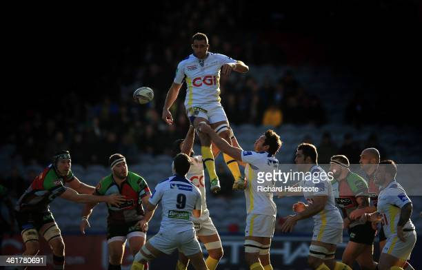 Alexandre Lapandry of Clermont claim a lineout during the Heineken Cup match between Harlequins and Clermont Auvergne at the Twickenham Stoop on...