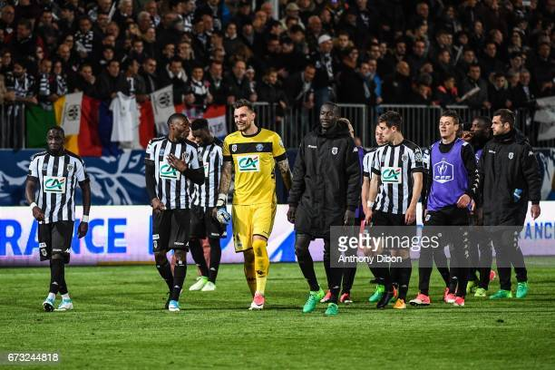Alexandre Letellier and Team of Angers celebrates the victory during the Semi final of the French Cup match between Angers and Guingamp at Stade Jean...