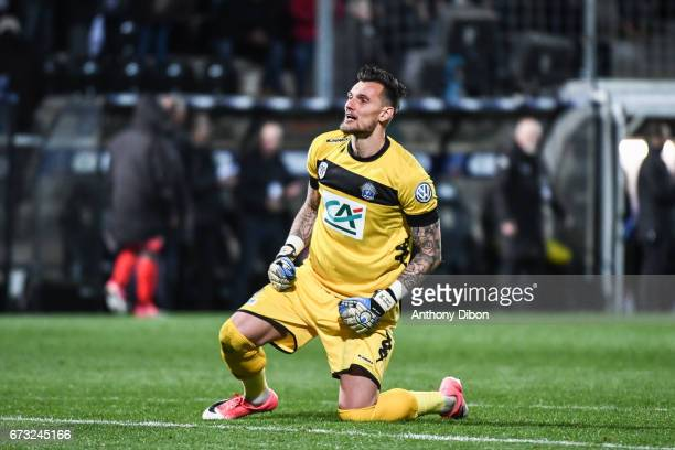 Alexandre Letellier goalkeeper of Angers looks happy during the Semi final of the French Cup match between Angers and Guingamp at Stade Jean Bouin on...