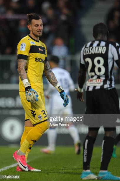 Alexandre Letellier of Angers and Issa Cissokho of Angers look dejected during the French Ligue 1 match between Angers and Lyon on April 28 2017 in...