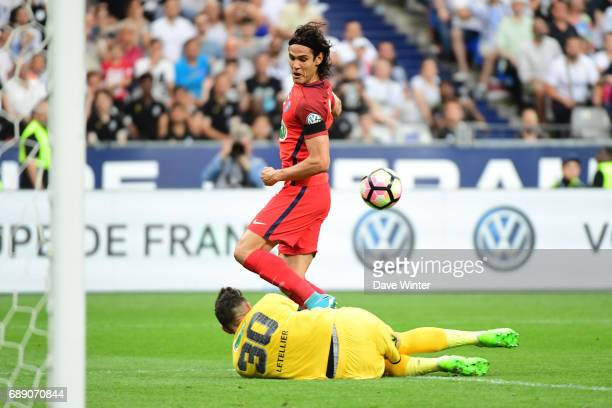Alexandre Letellier of Angers saves from Edinson Cavani of PSG during the National Cup Final match between Angers SCO and Paris Saint Germain PSG at...
