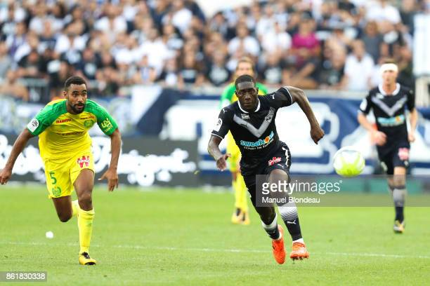 Alexandre Mendy of Bordeaux and Levy Djidji of Nantes during the Ligue 1 match between FC Girondins de Bordeaux and FC Nantes at Stade Matmut...