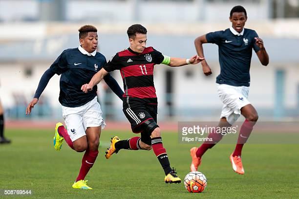 Alexandre Nsakala of France challenges NicolasGerrit Kuhn of Germany during the UEFA Under16 match between U16 France v U16 Germany on February 6...