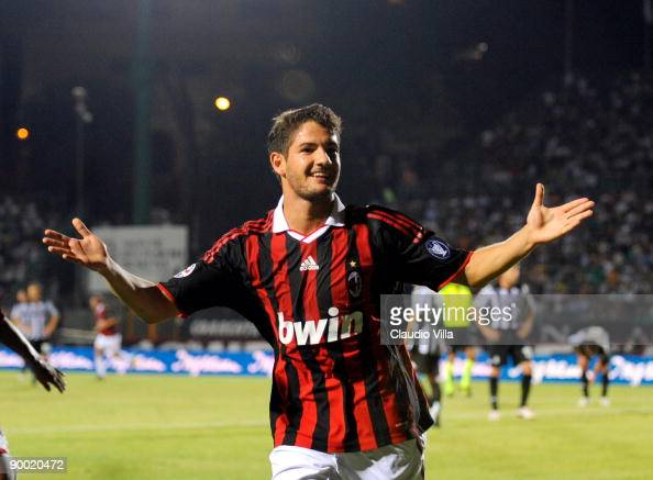 Alexandre Pato of AC Milan celebrates after scoring during the Serie A match between Siena and AC Milan at Artemio Franchi Montepaschi Arena Stadium...