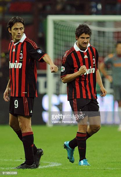 Alexandre Pato of AC Milan celebrates his goal with Filippo Inzaghi during the Serie A match between AC Milan and AS Roma at Stadio Giuseppe Meazza...