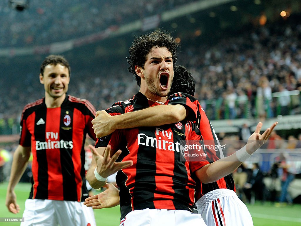 Alexandre Pato of AC Milan celebrates scoring the first goal during the Serie A match between AC Milan and FC Internazionale Milano at Stadio Giuseppe Meazza on April 2, 2011 in Milan, Italy.