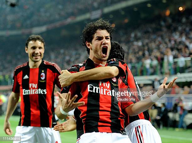 Alexandre Pato of AC Milan celebrates scoring the first goal during the Serie A match between AC Milan and FC Internazionale Milano at Stadio...