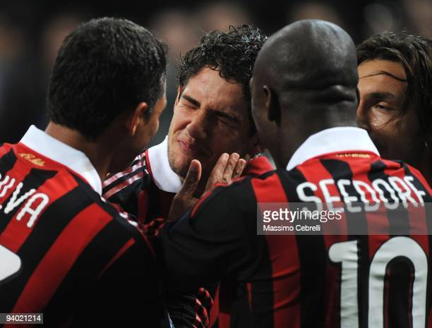 Alexandre Pato of AC Milan is congratulated after scoring Milan's third goal during the Serie A match between AC Milan and UC Sampdoria at Stadio...