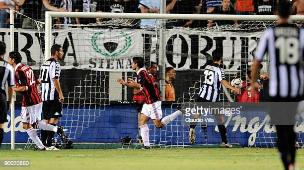 Alexandre Pato of AC Milan scores his team's second goal during the Serie A match between Siena and Milan at Artemio Franchi Montepaschi Arena...