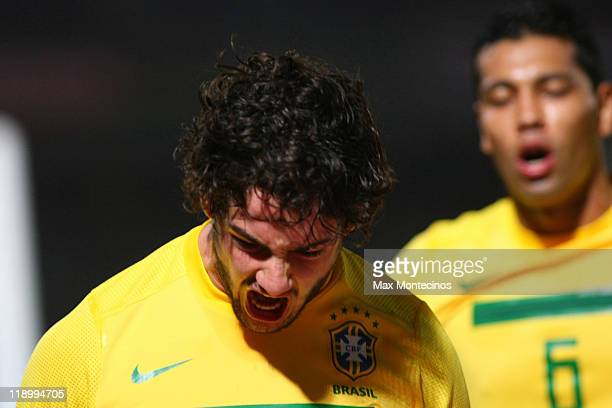 Alexandre Pato of Brasil celebrates after scoring against Ecuador during a match as part of group B of 2011 Copa America at Mario Alberto Kempes...